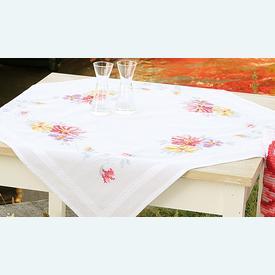Colourful Flowers theenap - voorgedrukt borduurpakket - Vervaco |  | Artikelnummer: vvc-156404