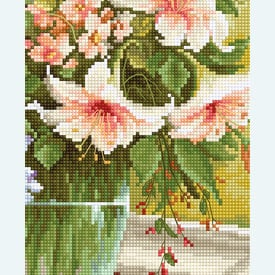 Flowers at the Window 5 - kruissteekpakket met telpatroon Luca-S |  | Artikelnummer: luca-bu4015