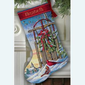 Christmas Sled Stocking - borduurpakket met telpatroon Dimensions |  | Artikelnummer: dim-08819