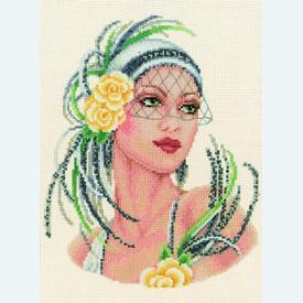 Yellow Rose Flapper Lady - kruissteekpakket met telpatroon Vervaco - evenweave |  | Artikelnummer: vvc-65076