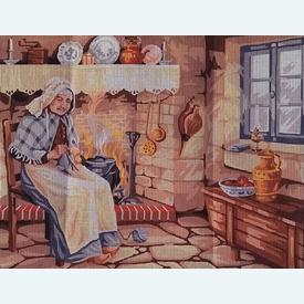 Close to the Hearth - bundel van geschilderd stramien + borduurwol, te borduren in halve kruissteek      Artikelnummer: rp-132-033