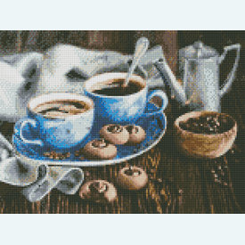 Coffee Romance - Diamond Painting pakket - Diamond Art | Pakket met vierkante diamantjes | Artikelnummer: da-az-1424