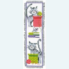 Bladwijzer Curious Cats - kruissteekpakket met telpatroon Vervaco |  | Artikelnummer: vvc-143915
