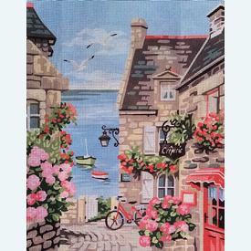 The Harbour Street - bundel van geschilderd stramien + borduurwol, te borduren in halve kruissteek |  | Artikelnummer: rp-132-080-bundel