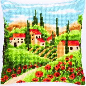 Tuscan Landscape - Vervaco Kruissteekkussen |  | Artikelnummer: vvc-144846