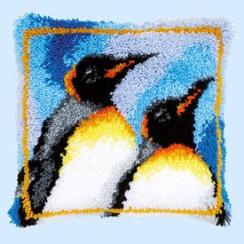 King Penguins - smyrna kussen Vervaco | Knoopkussen met koningspinguins | Artikelnummer: vvc-147953