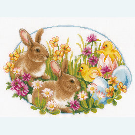 Rabbits and Chicks - handwerkpakket met telpatroon Vervaco |  | Artikelnummer: vvc-149534