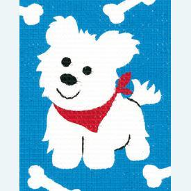 White Dog - halve kruissteekpakket Vervaco | Handwerkpakket voor kinderen, te borduren op geschilderd stramien, in halve kruissteek  | Artikelnummer: vvc-9586