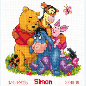 Winnie and Friends - Disney borduurpakket met telpatroon Vervaco |  | Artikelnummer: vvc-14846