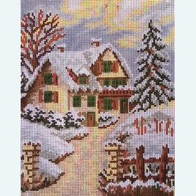 Winter Landscape - bundel van geschilderd stramien + borduurwol, te borduren in halve kruissteek      Artikelnummer: vvc-1934