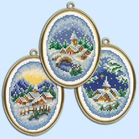 Winter Villages - set van 3 borduurpakketjes met telpatroon Vervaco |  | Artikelnummer: vvc-147905