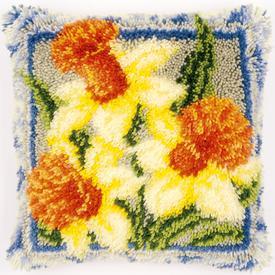 Daffodils - smyrna kussen Vervaco | Knoopkussen met trompetnarcissen | Artikelnummer: vvc-149783