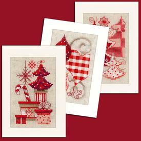 Wenskaarten Christmas Motives - borduurpakketten met telpatroon Vervaco      Artikelnummer: vvc-146572