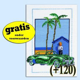 Cuba Car Green -  borduurpakket met telpatroon - Permin | Gratis onder voorwaarden  | Artikelnummer: pm-92-8126-0-120