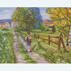 The Way to School - bundel van geschilderd stramien + borduurwol, te borduren in halve kruissteek |  | Artikelnummer: rp-142-542-bundel