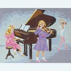 Pianissimo - Voordeelpakket van geschilderd stramien + borduurwol, te borduren in halve kruissteek |  | Artikelnummer: rp-142-121-promo