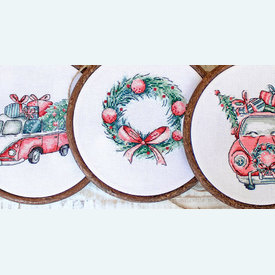 Christmas Retro Cars - borduurpakket met telpatroon Letistitch | set van 5 stuks - zonder lijstjes | Artikelnummer: leti-965