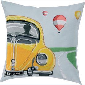 VW Pillow Blue -  telpakket Permin   | Kussen om zelf te borduren met telpatroon | Artikelnummer: pm-83-6116