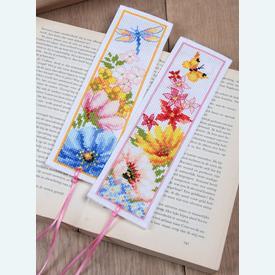 Set van 2 bladwijzers - Colourful Flowers - Handwerkpakketten met telpatroon Vervaco |  | Artikelnummer: vvc-184423