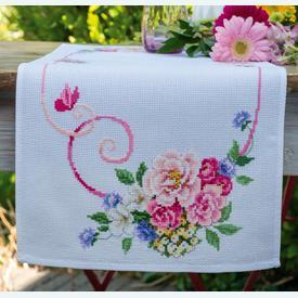 Classic Flowers Bouquet -  Tafelloper met telpatroon Vervaco |  | Artikelnummer: vvc-154338