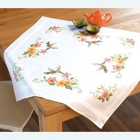 Hummingbirds theenap - voorgedrukt borduurpakket - Vervaco      Artikelnummer: vvc-144089