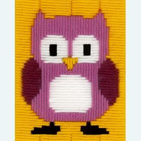 Fuchsia Owl - Vervaco borduurpakket in platsteek, voor kinderen |  | Artikelnummer: vvc-151019