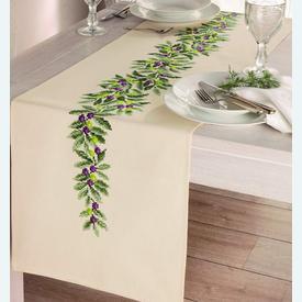 Olive Branches - lange loper - voorgedrukt borduurpakket - Vervaco |  | Artikelnummer: vvc-92955