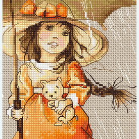 Girl with Umbrella - kruissteekpakket met telpatroon Luca-S |  | Artikelnummer: luca-b1065