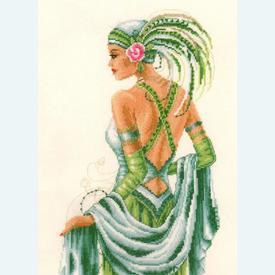 Lady in Green - kruissteekpakket met telpatroon Vervaco - evenweave |  | Artikelnummer: vvc-65324