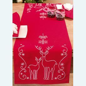 Deer and Snow Chrystals loper - voorgedrukt borduurpakket - Vervaco |  | Artikelnummer: vvc-145591