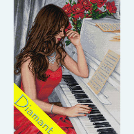Pianist - Diamond Painting pakket - Diamond Art | Pakket met vierkante diamantjes | Artikelnummer: da-az-1836