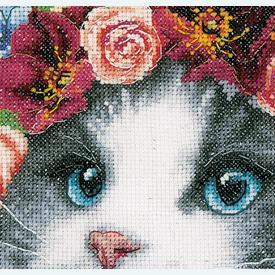 Ragdoll in Flowers - Lanarte borduurpakket met telpatroon - Aida | bestseller juni - Secret Stitch Along 2021-1  | Artikelnummer: ln-191866