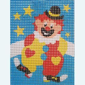 Clown - halve kruissteekpakket Vervaco | Handwerkpakket voor kinderen, te borduren op geschilderd stramien, in halve kruissteek  | Artikelnummer: vvc-3207
