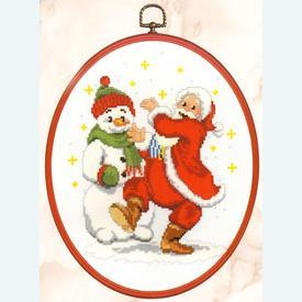 Dancing Santa - kruissteekpakket met telpatroon Vervaco |  | Artikelnummer: vvc-74872