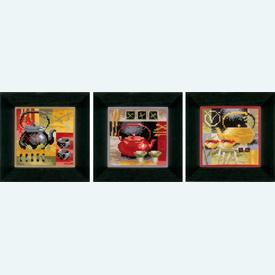 Asian Tea Ceremony - Set van 3 - borduurpakketten met telpatroon Vervaco |  | Artikelnummer: vvc-148686