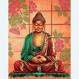 Buddha - borduurpakket met telpatroon Lanarte |  | Artikelnummer: ln-8040