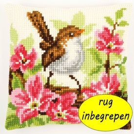 Little Bird and Pink Flowers MET RUG - Vervaco Kruissteekkussen |  | Artikelnummer: vvc-148693-rug