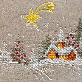 Winter Landscape with Star theenap - voorgedrukt borduurpakket - Vervaco |  | Artikelnummer: vvc-179557