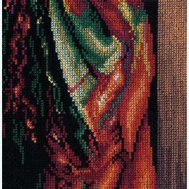 Lady with Scarf - borduurpakket met telpatroon Lanarte |  | Artikelnummer: ln-168603
