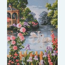 The Flower Pond - bundel van geschilderd stramien + borduurwol, te borduren in halve kruissteek |  | Artikelnummer: rp-142-406-bundel