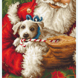 Santa Clause with Dog - borduurpakket met telpatroon Luca-S |  | Artikelnummer: luca-b561