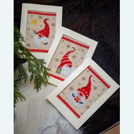 Wenskaarten Christmas Gnomes - borduurpakketten met telpatroon Vervaco |  | Artikelnummer: vvc-184428