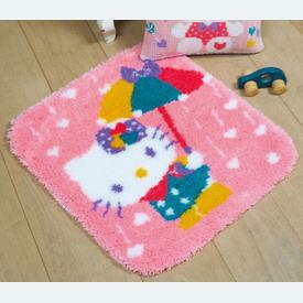 Hello Kitty - Shower of Hearts - knooptapijt Vervaco | Smyrna tapijt met Hello Kitty en een regen van hartjes | Artikelnummer: vvc-173009