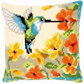 Hummingbird with Flowers - Vervaco Kruissteekkussen |  | Artikelnummer: vvc-144080