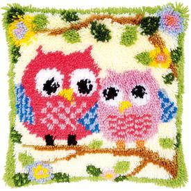 Owls on a Branch - knoopkussen Vervaco | Smyrna kussen met uilenpaar | Artikelnummer: vvc-149752