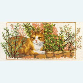 Cat on the Wall - borduurpakket met telpatroon Vervaco - aida |  | Artikelnummer: vvc-75487