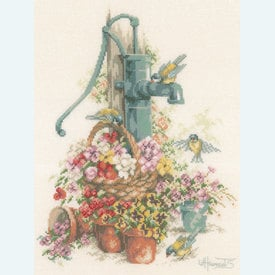 Birds at the Water Pump - borduurpakket met telpatroon Lanarte |  | Artikelnummer: ln-7958