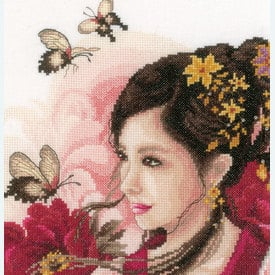 Asian Lady in Pink - borduurpakket met telpatroon Lanarte |  | Artikelnummer: ln-170199