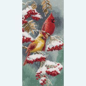 Scarlet and Snow Cardinals - kruissteekpakket met telpatroon Vervaco |  | Artikelnummer: vvc-165887