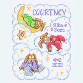 Heaven Sent Birth Announcement - borduurpakket met telpatroon Janlynn      Artikelnummer: jl-054.0105